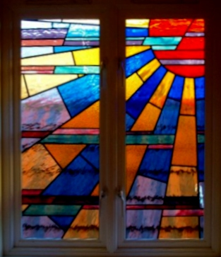 art deco stained glass-A131