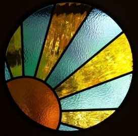 art deco stained glass-A135