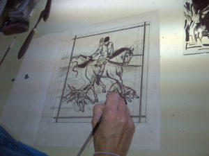 Coriander Stained Glass trace line painting