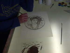 Coriander Stained Glass trace lines painting