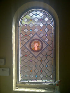 Victorian Geometric stained glass final panel