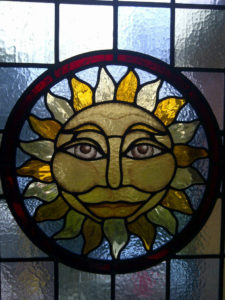 Victorian Stained Glass, Hand painted roundel feature